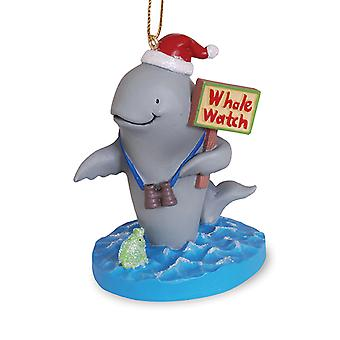 Whale in Santa Hat on Whale Watch Coastal Christmas Holiday Ornament Cape Shore