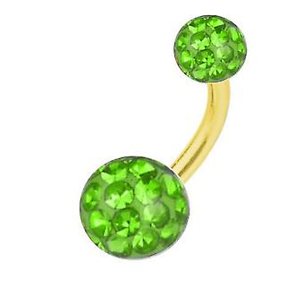Buik Bar banaan Piercing goud geplateerd Titanium, Multi Crystal Ball groen | 6-16 mm