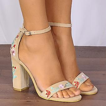 Shoe Closet Nude Heels - Ladies DB90 Nude Embroidered Strappy Sandals Peep Toes High Heels