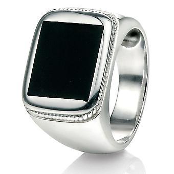 Anillo de ágata negro moda plata 925