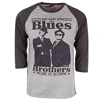 Blues Brothers Herre Retro Blues Brothers In Action Raglan Heather grå