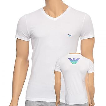 Emporio Armani Eagle Stretch Cotton V-Neck T-Shirt, White, X Large