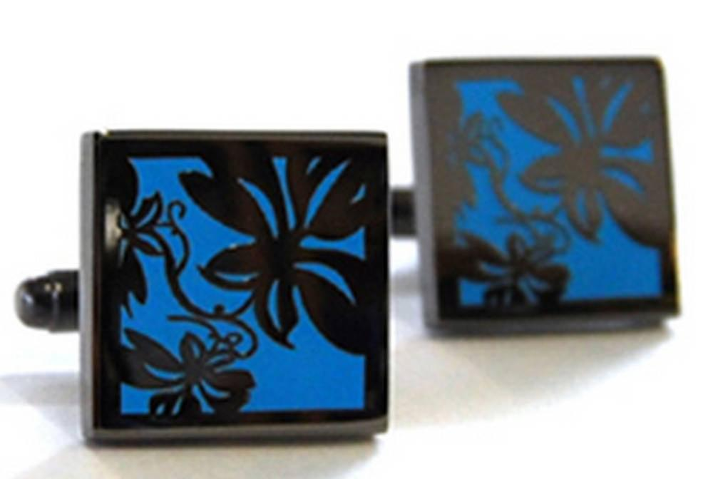 Tyler and Tyler Black Metal Vine Cufflinks - Bright Blue