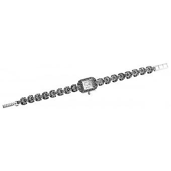 Woodford Sterling Silver Quartz Marcasite Bracelet Watch - Silver
