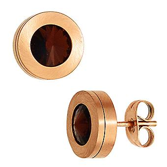 Stainless steel round studs boutons 2 of red crystal element matted stainless steel earrings