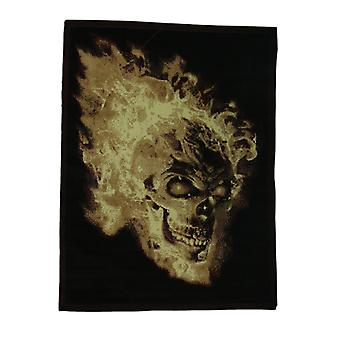 Black Flaming Evil Skull 5 X 7 inch Area Rug with Red Border