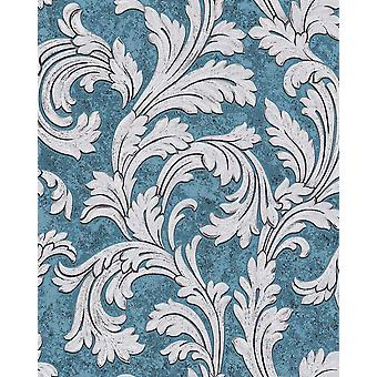 Baroque wallpaper EDEM 1032 12 vinyl wallpaper smooth with ornaments and metallic effect blue petrol silver Platinum 5.33 m2