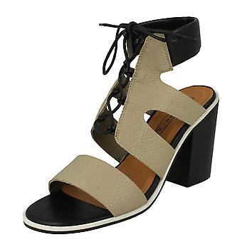 Ladies Spot On Ankle Cushion Block Heel Sandals F10540