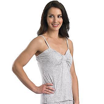 Slenderella Loungewear Ivory and Grey 24'' Length Print Cami Top GL08712