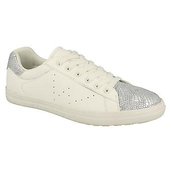 Spot On Womens/Ladies Lace Up Snake Toecap Trainers