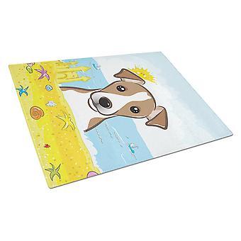 Jack Russell Terrier Summer Beach Glass Cutting Board Large