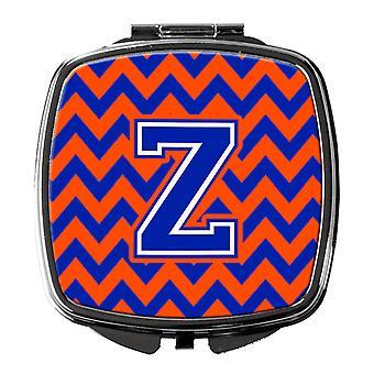 Carolines Schätze CJ1044-ZSCM Buchstabe Z Chevron Orange und blau Taschenspiegel
