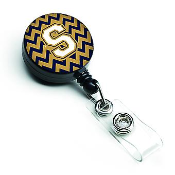 Letter S Chevron Navy Blue and Gold Retractable Badge Reel
