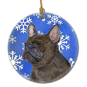 French Bulldog Winter Snowflakes Holiday Christmas Ceramic Ornament SS4657
