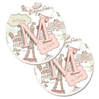 Letter M Love in Paris Pink Set of 2 Cup Holder Car Coasters