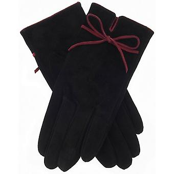 Dents Jenny Contrast Bow Suede Gloves - Black/Berry Red