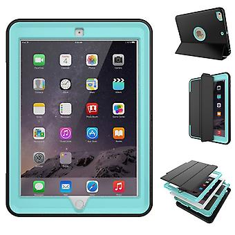 Multi-part hybrid outdoor protective cover case blue for Apple iPad 2 / 3 / 4 Pocket wake UP 3folt