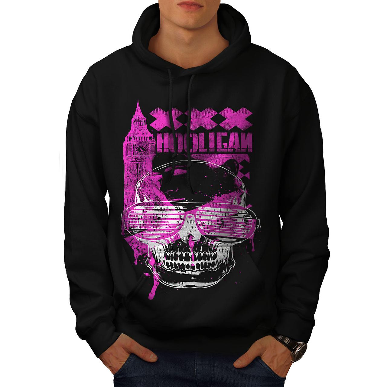 UK Hooligan Dead Gangster Men Black Hoodie | Wellcoda