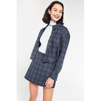 Side Party Cropped Check Shirt