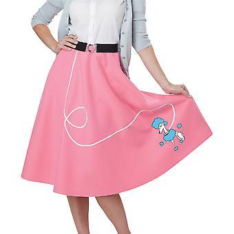 50s pudel fett Sock Hop Bopper Rock N Roll Womens kostym rosa kjol