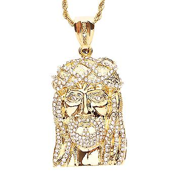 Iced out bling chain - JESUS FACE gold