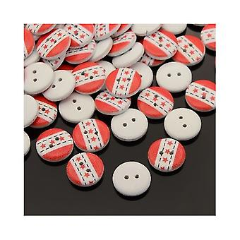 Packet 20 x Red/White Wood 15mm Round 2-Holed Patterned Sew On Buttons HA14540
