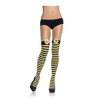 Bumble Bee Opaque Women Costume Black Yellow Striped Thigh Highs With Daisy