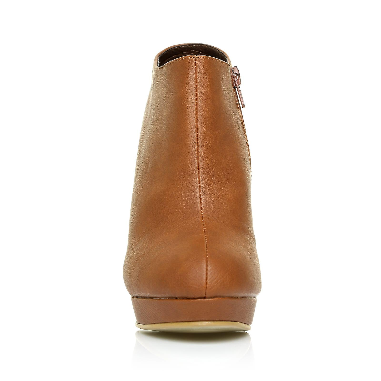 H20 Tan PU Leather Stilleto Very High Heel Ankle Shoe Shoe Shoe Boots 416843