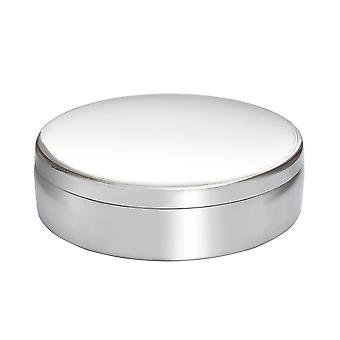 10Cm Round Plain Pewter Trinket Box