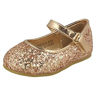 Girls Spot On Glitter Bar Strap Ballerinas H2483 - Silver Glitter - UK Size 10 - EU Size 28 - US Size 11