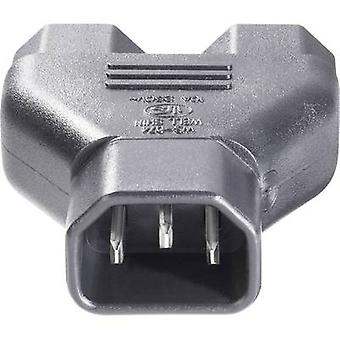 IEC adapter IEC C14 plug - IEC C13 socket , IEC C13 socket Black BKL Electronic 073331 1 pc(s)