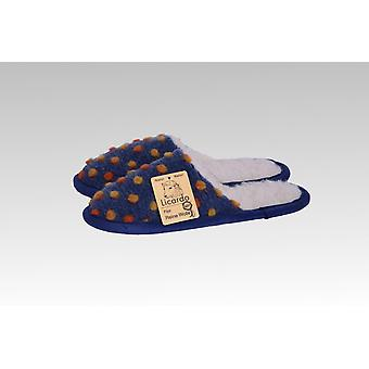 Slipper wool dots Blue 44/45