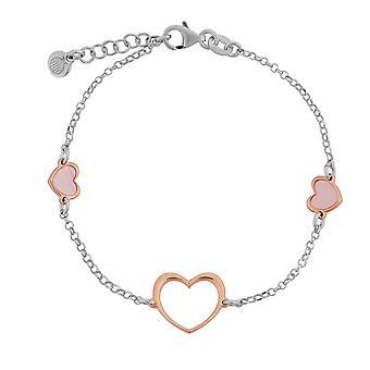 Orphelia plata 925 pulsera con trapeador rosa corazón 17 + 1,5 cm ZA-7389