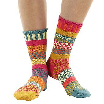 Saffron recycled cotton multicoloured odd-socks   By Solmate