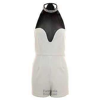 Ladies V Mesh Playsuit Pearl Diamante Collar Neck Tie Side Zip Women's All in One