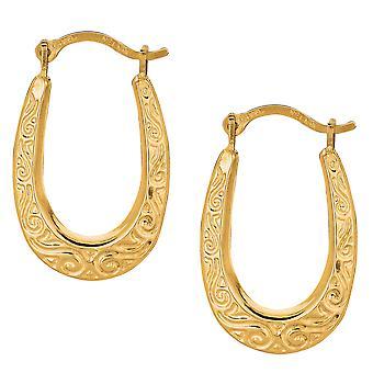 10k Yellow Gold Shiny Swirl Design Oval Hoop Earrings, Diameter 20mm