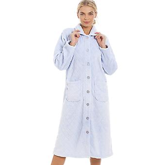 Camille Womens Supersoft luce blu bottone anteriore Diamond stampa vestaglia