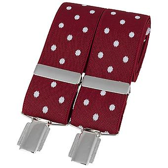 David Van Hagen Classic Spotted Braces - Red/White