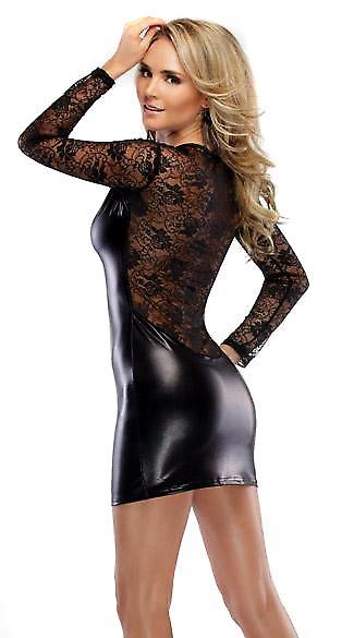 Waooh 69 - Minikleid Clubwear schwarz mit Spitze Missa