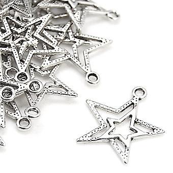 Paket 20 x antik Silver tibetanska 23mm stjärna Charm/hänge ZX00145