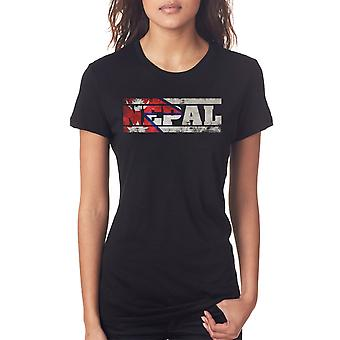 Nepal Flag - Words Ladies T Shirt