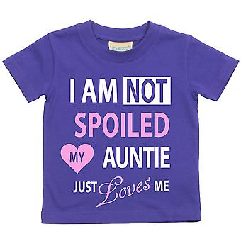 Purple I'm Not Spoiled My Auntie Just Loves Me Girls Tshirt