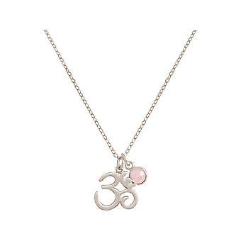 Gemshine YOGA Meditation Ohm Halskette aus 925 Silber oder hochwertig vergoldet. 2 cm Anhänger mit Rosenquarz. Nachhaltiger, qualitätsvoller Schmuck Made in Spain