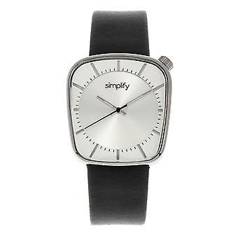 Simplify The 6800 Leather-Band Watch - Silver