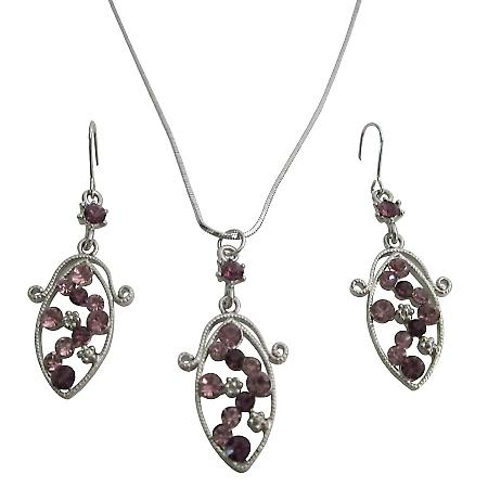 Crystals Wedding Bridesmaid Gift Jewelry Amethyst Pendant Earring Set