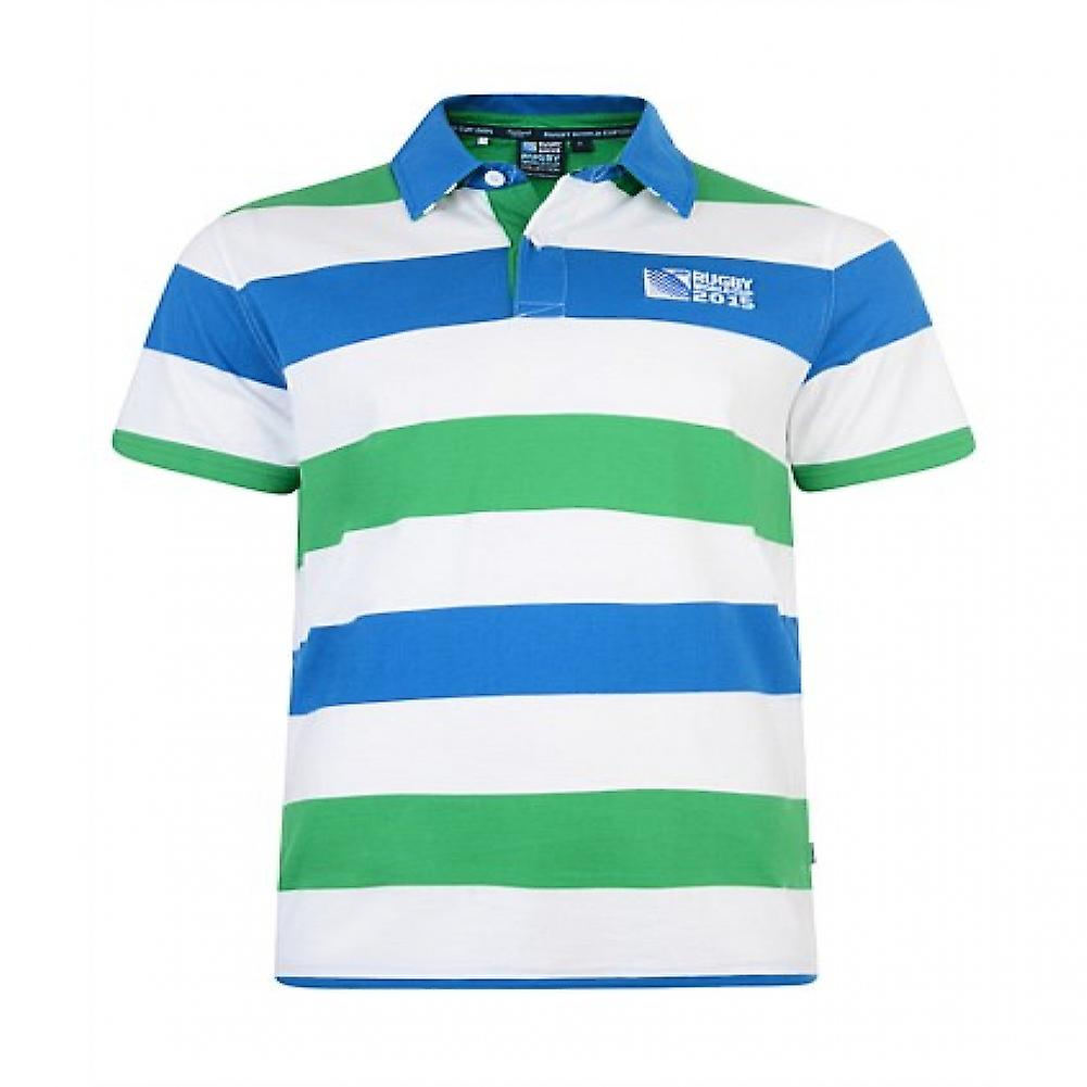RWC 2015 Rugby 20 Nations Hoop Polo Shirt (Green-White-Blue)