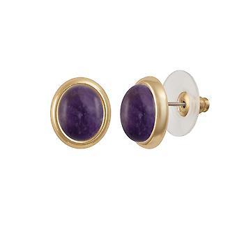 Eternal Collection Minuet Amethyst Gold Tone Stud Pierced Earrings