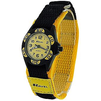 Ravel Analogue Boys Black & Yellow Fabric Easy Fasten Strap Watch R1507.25