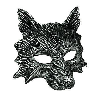 Metallic Silver Wolf effrayant Costume adulte masque