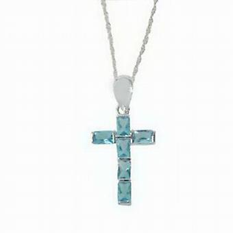Toc Sterling Silver Blue Crystal Cross Pendant on 16 Inch Chain